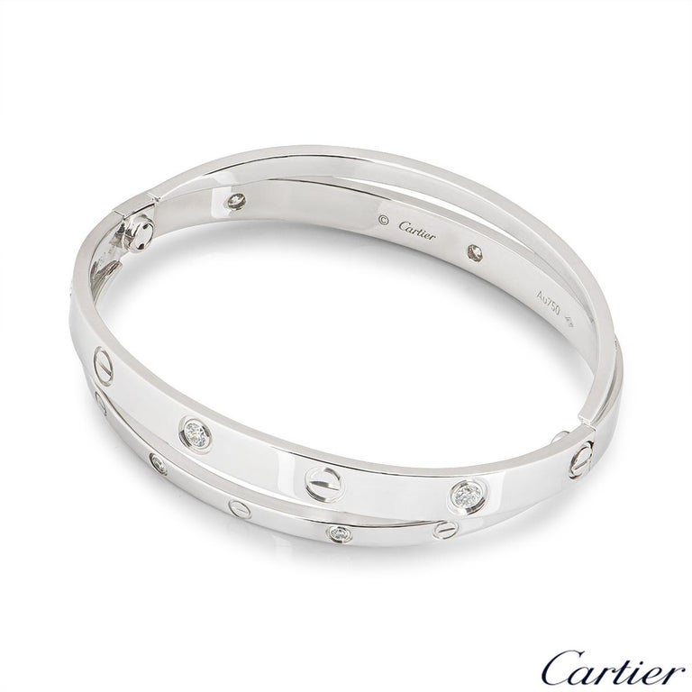 Cartier White Gold Half Diamond Double Love Bracelet N6709517 In Excellent Condition For Sale In London, GB