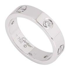 Cartier White Gold Half Diamond Love Ring Men's