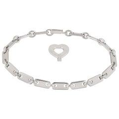 Cartier White Gold Heart Key Link Bracelet