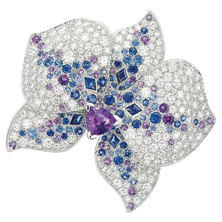 Cartier White Gold Orchard Flower Ring, Diamond, Sapphire, Amethyst For Sale