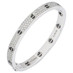 Cartier White Gold Pave Diamond and Ceramic Love Bracelet N6032416