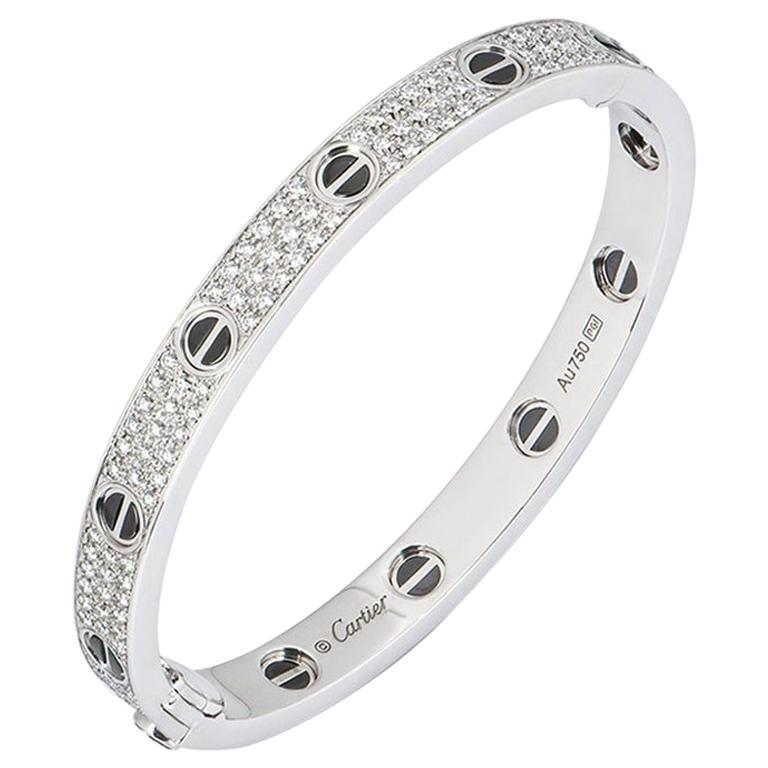 Cartier White Gold Pave Diamond and Ceramic Love Bracelet N6032416 For Sale