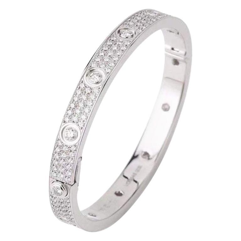 Cartier White Gold Pave Diamond & Ceramic Love Bracelet N6033602 Size 16 For Sale