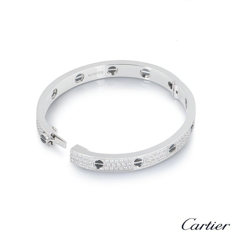 Cartier White Gold Pave Diamond and Ceramic Love Bracelet N6032416 In Excellent Condition For Sale In London, GB