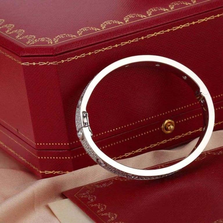 Brilliant Cut Cartier White Gold Pave Diamond & Ceramic Love Bracelet N6033602 Size 16 For Sale