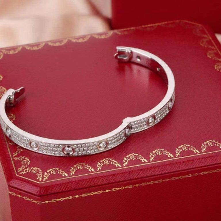 Cartier White Gold Pave Diamond & Ceramic Love Bracelet N6033602 Size 16 For Sale 1