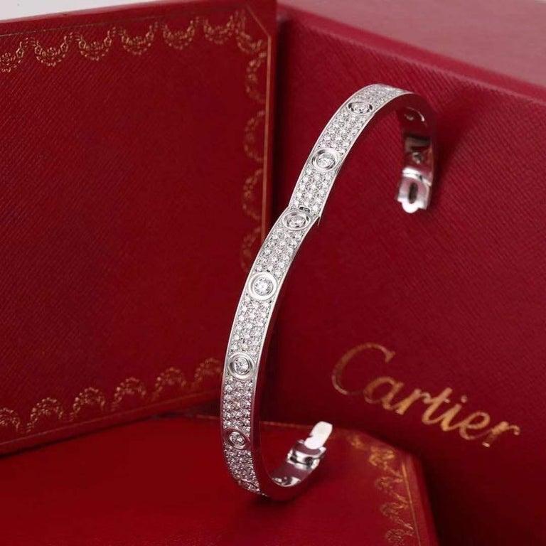Cartier White Gold Pave Diamond & Ceramic Love Bracelet N6033602 Size 16 For Sale 2