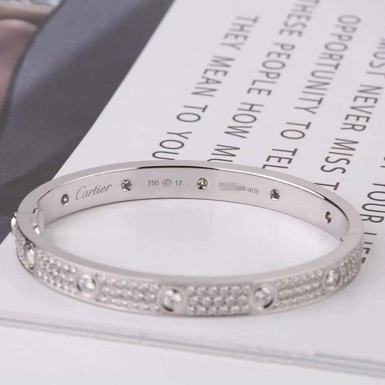 Cartier White Gold Pave Diamond & Ceramic Love Bracelet N6033602 Size 16 For Sale 3