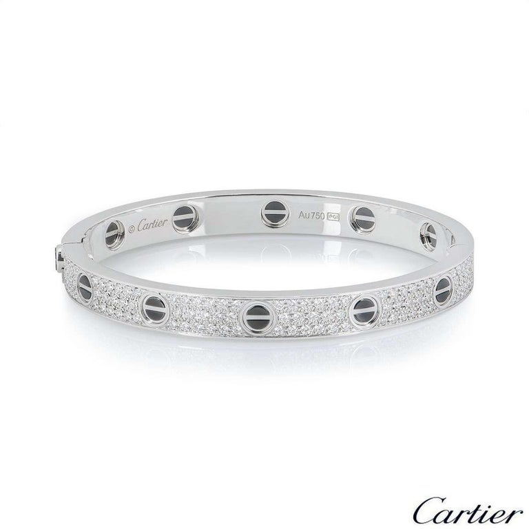 Round Cut Cartier White Gold Pave Diamond and Ceramic Love Bracelet N6032418 For Sale