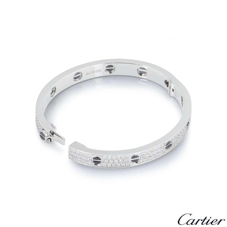 Cartier White Gold Pave Diamond and Ceramic Love Bracelet N6032418 In Excellent Condition For Sale In London, GB