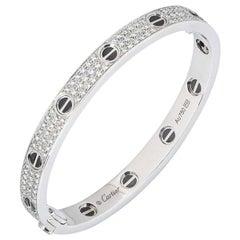 Cartier White Gold Pave Diamond and Ceramic Love Bracelet N6032418