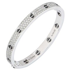 Cartier White Gold Pave Diamond and Ceramic Love Bracelet N6032418