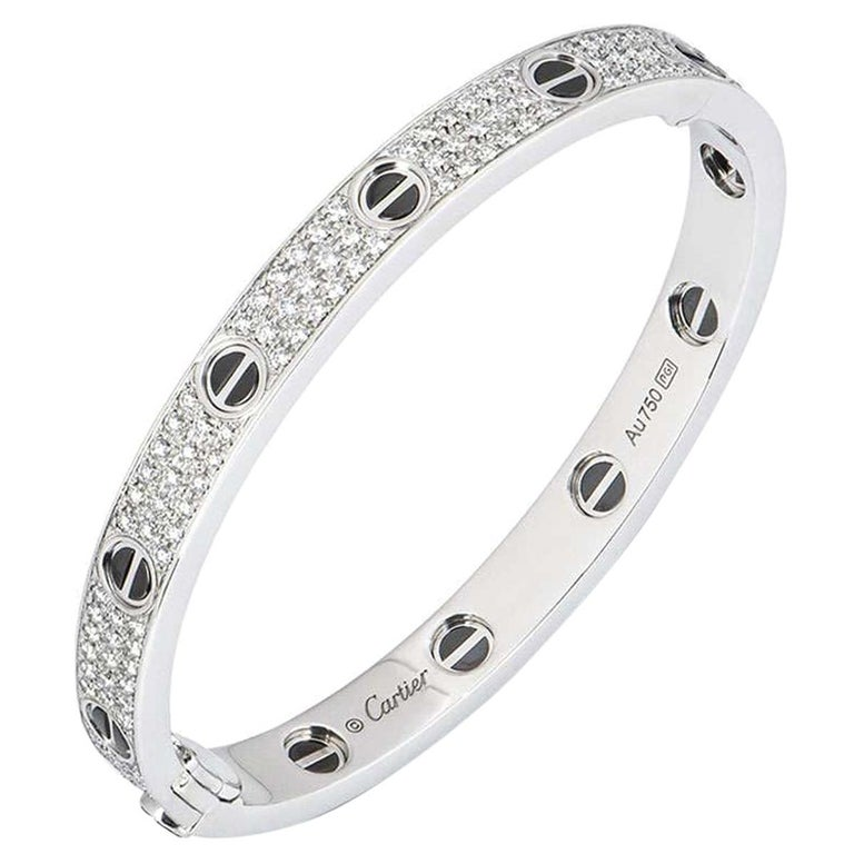 Cartier White Gold Pave Diamond and Ceramic Love Bracelet N6032418 For Sale