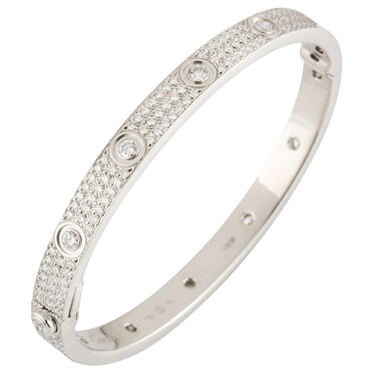 Cartier White Gold Pave Diamond Love Bracelet N6033602 For Sale