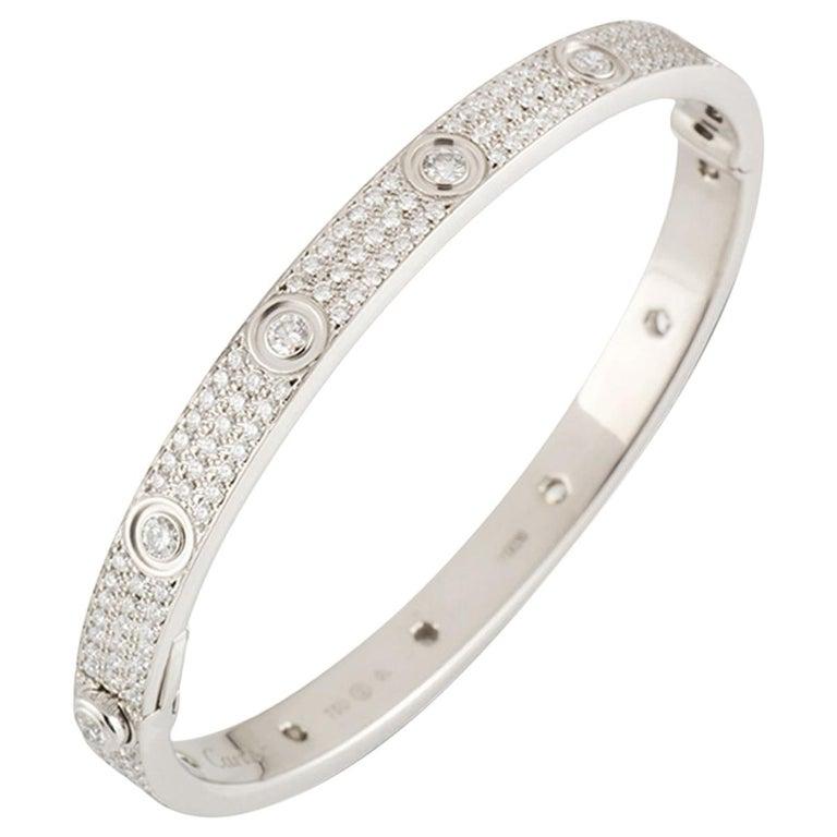 Cartier White Gold Pave Diamond LoveBracelet N6033602 For Sale
