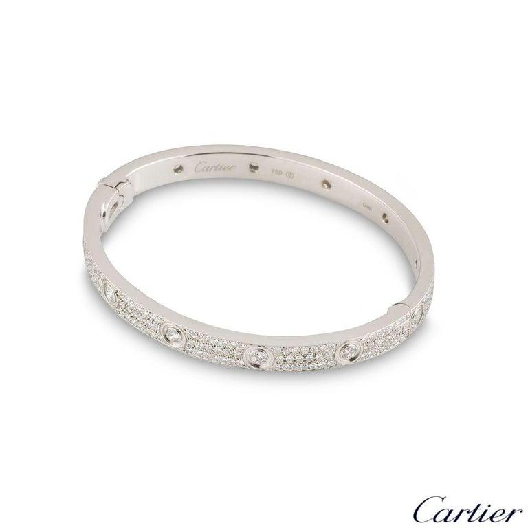 Round Cut Cartier White Gold Pave Diamond Love Bracelet N6033602 For Sale