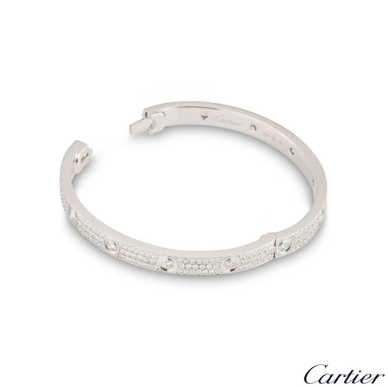 Cartier White Gold Pave Diamond Love Bracelet N6033602 In Excellent Condition For Sale In London, GB
