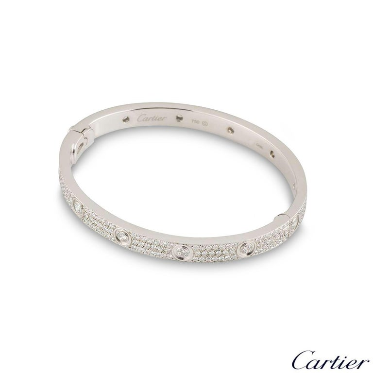 Round Cut Cartier White Gold Pave Diamond LoveBracelet N6033602 For Sale