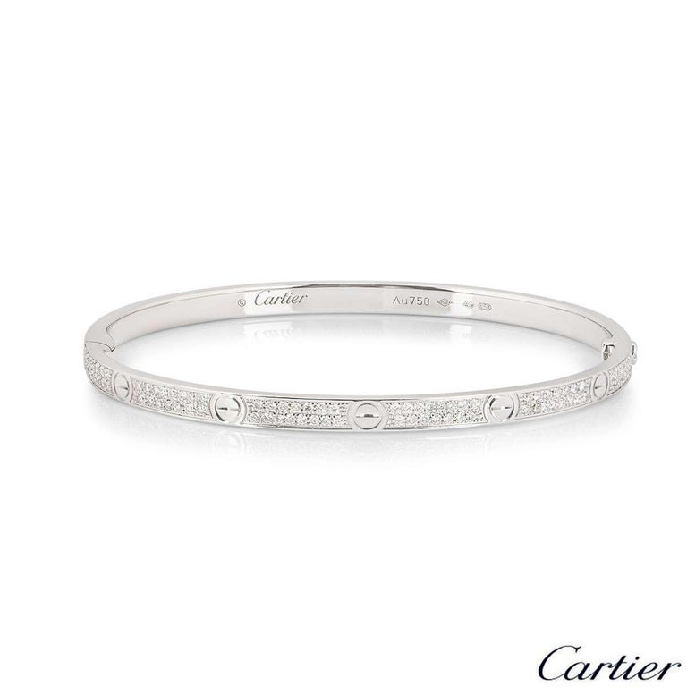 Round Cut Cartier White Gold Pave Diamond SM Love Bracelet N6710817