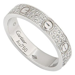 Cartier White Gold Pave Diamond Wedding Love Ring B4083400