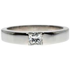 Cartier White Gold Princess Cut Diamond .25 Carat F-VVS2 GIA Engagement Ring