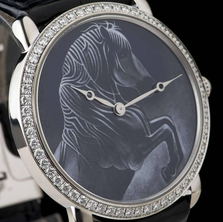 Cartier White Gold Ronde Louise XL Year Of The Horse Manual Wristwatch In Excellent Condition For Sale In London, GB