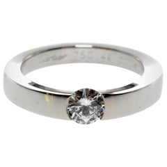 Cartier White Gold Round Diamond .30 Carat F-Vs2 GIA Certified Engagement Ring
