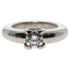 Cartier White Gold Round Diamond .53 Carat G-VS2 GIA Certified Engagement Ring