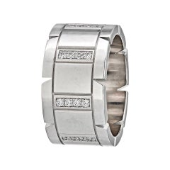 Cartier White Gold Tank Francaise Diamond Wedding Band Ring