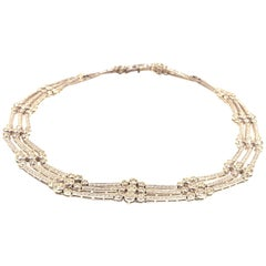 Cartier White Gold Three Strand Diamond Choker