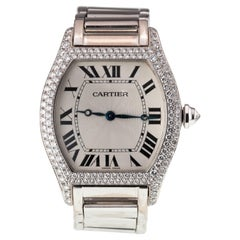 Cartier White Gold Tortue Mechanical Watch with Factory Diamonds 2497