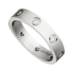 Cartier White Love Wedding Band Gold 8 Diamonds Ring