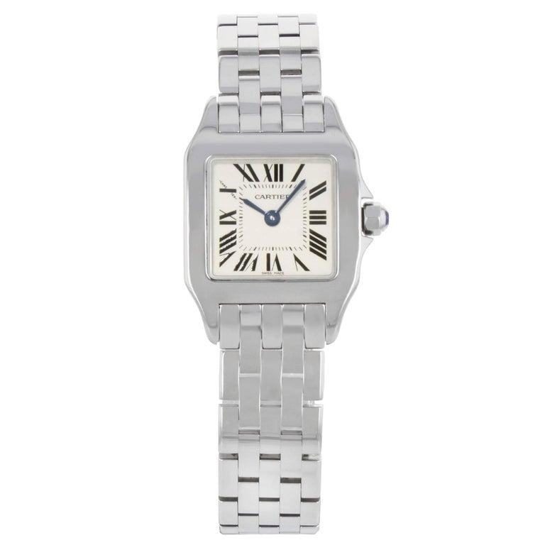 Cartier White Santos Demoiselle W25064Z5 Stainless Steel Quartz Watch