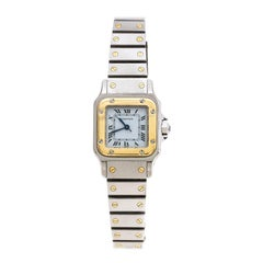 Cartier White Stainless Steel 18K Yellow Gold Santos Galbée Women's Wristwatch 2