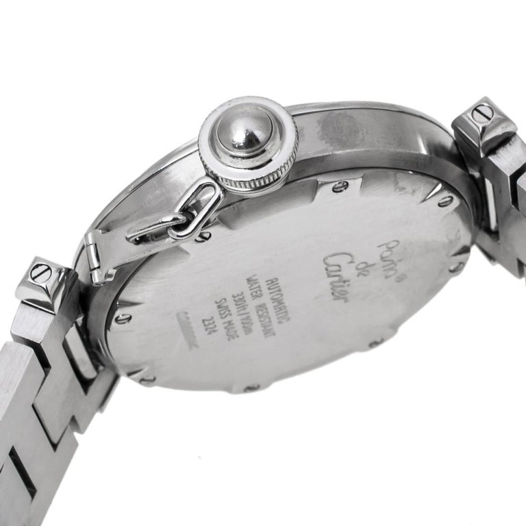Cartier White Stainless Steel Pasha de Cartier 2324 Women's Wristwatch 35 mm For Sale 1