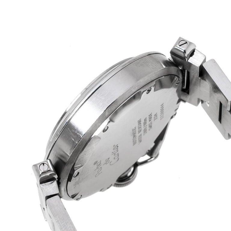 Cartier White Stainless Steel Pasha de Cartier 2324 Women's Wristwatch 35 mm For Sale 2