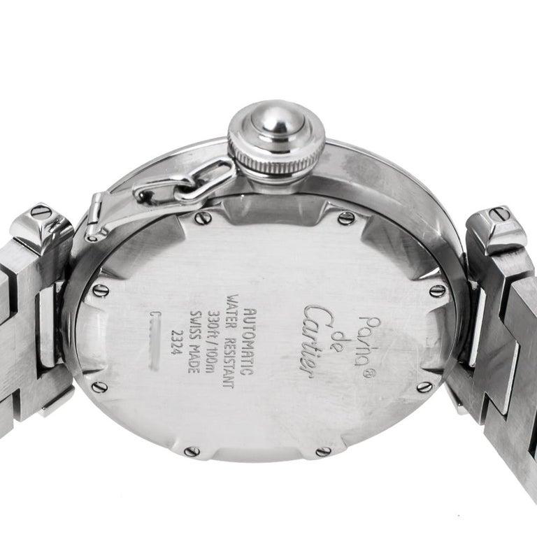 Cartier White Stainless Steel Pasha de Cartier 2324 Women's Wristwatch 35 mm For Sale 3