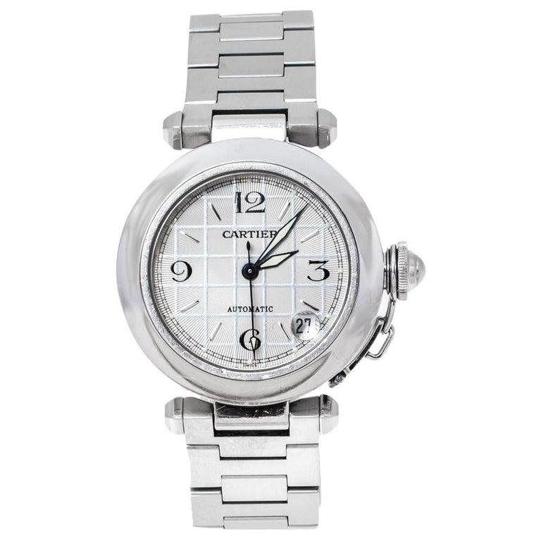 Cartier White Stainless Steel Pasha de Cartier 2324 Women's Wristwatch 35 mm For Sale