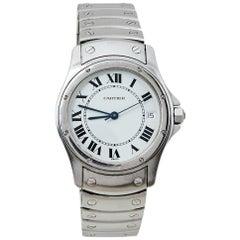 Cartier White Stainless Steel Santos Ronde 1920 1 Women's Wristwatch 33 MM