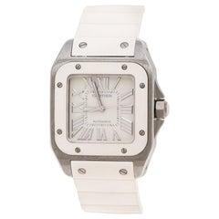Cartier White Stainless Steel Santos Women's Wristwatch 33 mm