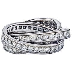 Cartier White Trinity Ladies Diamond 18 Karat Gold Ring