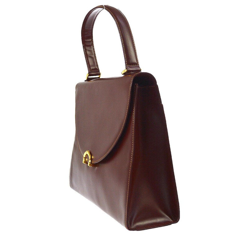 Women's Cartier Wine Burgundy Leather Gold Charm Logo Kelly Style Top Handle Satchel Bag For Sale