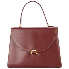 Cartier Wine Burgundy Leather Gold Charm Logo Kelly Style Top Handle Satchel Bag
