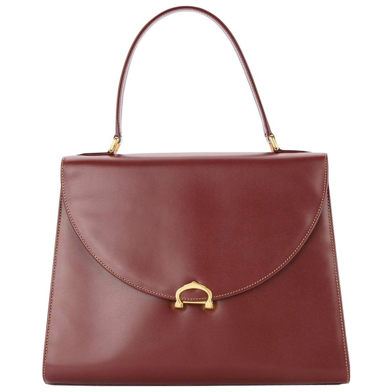 Cartier Wine Burgundy Leather Gold Charm Logo Kelly Style Top Handle Satchel Bag For Sale
