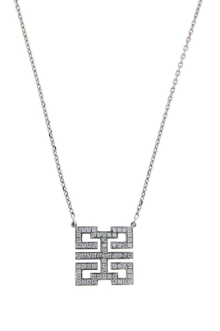 Cartier Wishknot Vs1 F Diamond Necklace In 18 Karat White