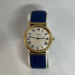 Cartier Women's Blue Bi-Plan 18 Karat Yellow Gold Vendome Mechanical Watch