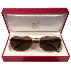 Cartier Wood Amboise 56mm Gold and Precious Wood Brown Lens Sunglasses