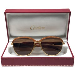 Cartier Wood Malmaison Precious Light Wood and Gold 54mm Sunglasses