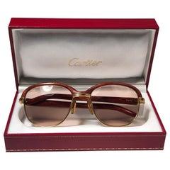 Cartier Wood Malmaison Precious Wood and Gold 56mm Sunglasses