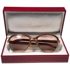 Cartier Wood Malmaison Precious Wood Palisander and Gold 56mm Sunglasses